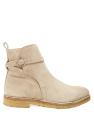 Ami Alexandre Mattiussi Suede Ankle Boots Beige