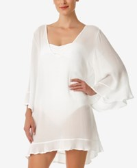 Anne Cole Sheer Ruffled Tunic Cover Up Women's Swimsuit White