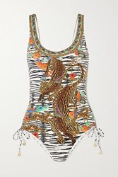 Camilla Crystal Embellished Printed Swimsuit Zebra Print