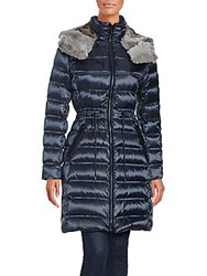 Dawn Levy Down Filled Natural Rabbit Fur Coat Midnight