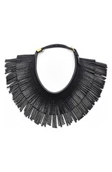 Women's Hayden Harnett 'Ilaria' Leather Fringe Collar Necklace Black