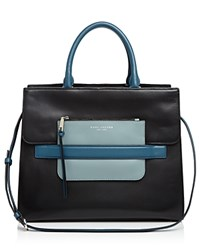 Marc Jacobs Madison Tricolor North South Leather Tote Black Multi Silver
