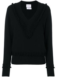 Barrie Textured Detail V Neck Jumper Black