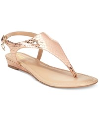 Thalia Sodi Isaa Thong Demi Wedge Sandals Only At Macy's Women's Shoes Rose Gold
