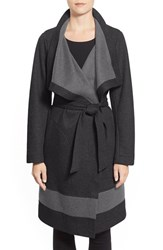 Women's Vince Camuto Contrast Border Reversible Knit Wrap Coat Charcoal Light Grey