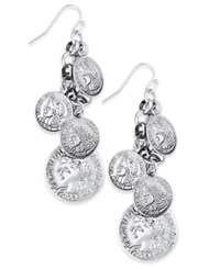 Macy's Silver Tone Coin Inspired Shaky Drop Earrings