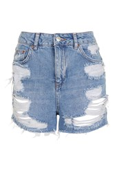 Topshop Petite Ripped Mom Shorts Mid Stone