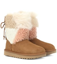 Ugg Classic Short Patchwork Fluff Ankle Boots Brown