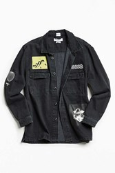 Urban Outfitters Uo Graphic Patches Denim Over Shirt Black