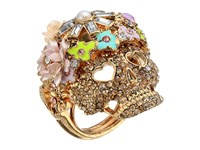 Betsey Johnson Rose Gold Pink Skull Flower Ring Pink Ring