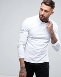Lyle And Scott Long Sleeve Pique Polo Regular Fit Eagle Logo In White White