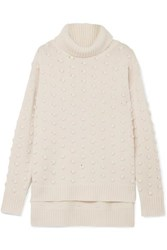Lela Rose Bobble Knit Wool And Cashmere Blend Turtleneck Sweater Off White