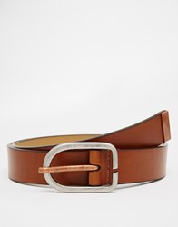 River Island Belt With Rose Gold Buckle In Tan Black
