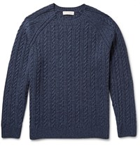 Gieves And Hawkes Melange Cable Knit Wool And Cashmere Blend Sweater Blue