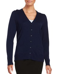 Lord And Taylor Petite Merino Wool Button Front Cardigan Blue Shell Heather