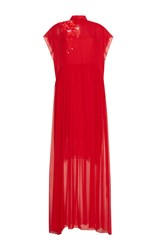 Delpozo Beaded Embellished Gown Red