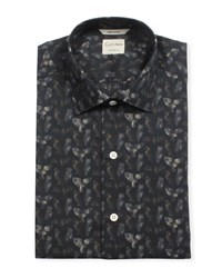 Culturata Tailored Fit Owl Print Super Soft Dress Shirt Black