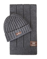 Ugg Ribbed Scarf And Hat Set Charcoal
