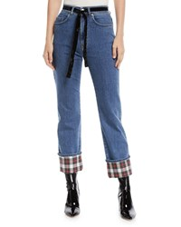 Isa Arfen Straight Leg Cropped Jeans With Tartan Details Blue