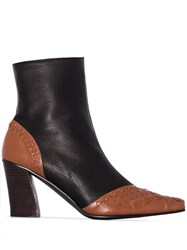 Reike Nen Woven Detail Ankle Boots Brown