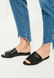 Missguided Black Peep Toe Slip On Mules