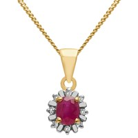 A B Davis 9Ct Gold Precious Stone And Diamond Surround Oval Pendant Necklace Yellow Gold Ruby