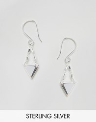 Asos Sterling Silver Mini Triangle Drop Earrings Sterling Silver
