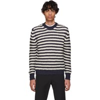 Prada Off White And Navy Alpaca Striped Sweater