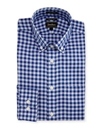Neiman Marcus Trim Fit Regular Finish Check Dress Shirt Blue