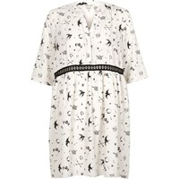 River Island Womens Cream Tattoo Print Smock Swing Dress