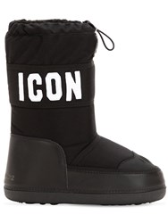 Dsquared Icon Nylon And Leather Snow Boots Black