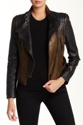 Members Only Colorblock Washed Genuine Leather Jacket