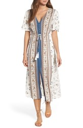 Lost Wander Tulum Midi Dress Ivory Multi