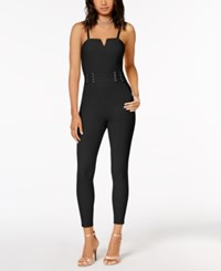 Material Girl Juniors' Lace Up Fitted Jumpsuit Created For Macy's Caviar