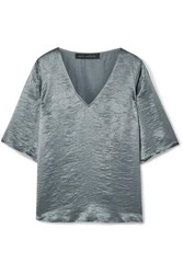 Sally Lapointe Crinkled Satin Top Gray Green