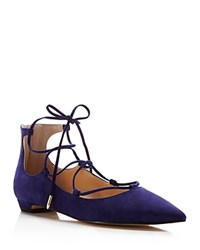 Ivanka Trump Tropica Pointed Toe Lace Up Flats Deep Blue