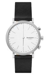 Skagen Women's Hald Hybrid Leather Strap Smart Watch 40Mm Black White Silver