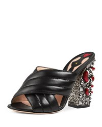 Gucci Webby Quilted Leather Snake Heel Mule Sandal Nero
