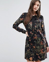 Lavand Tie Neck Floral Dress Black Multi