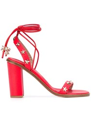 Red Valentino Star Studded Sandals Women Leather 39.5 Red