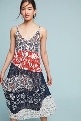 Anthropologie Isa Maxi Slip Dress Red Motif