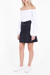 Markus Lupfer Women S Cotton Drill Edie Short Skirt Boutique1 Navy