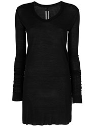 Rick Owens V Neck Top Silk Viscose Black