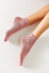 Urban Outfitters Open Work Scalloped Trouser Sock Rose