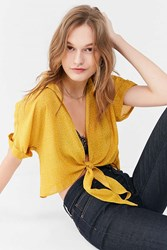 Urban Outfitters Uo Polka Dot Tie Front Top Yellow