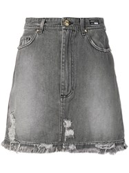 Versace Jeans Distressed Denim Skirt Grey