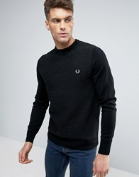 Fred Perry Texture Knit Jumper Stripe In Black Black