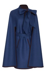 Carolina Herrera Double Face Wool Cape Coat Navy
