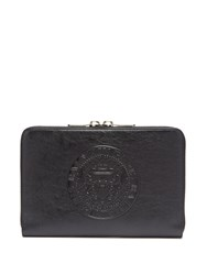 Balmain Logo Embossed Leather Document Holder Black