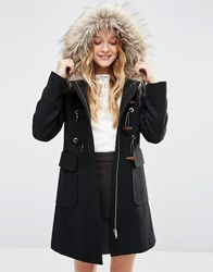 Asos Wool Blend Fur Hooded Duffle Coat Black